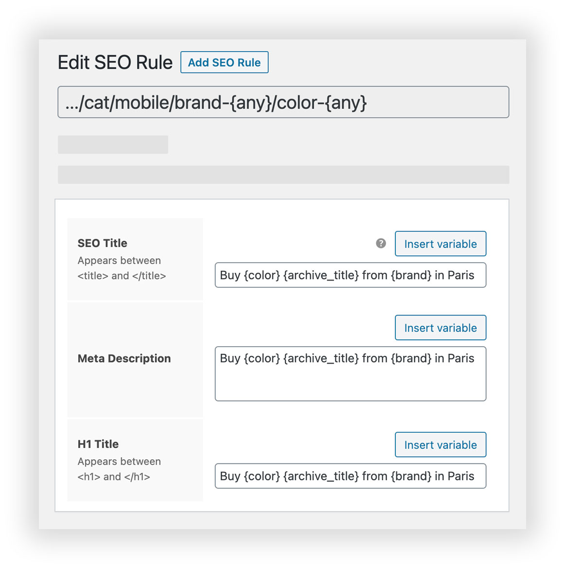 Filter Everything - WooCommerce Product Filter SEO Rule edit screen